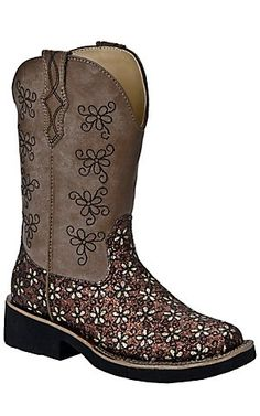 Roper® Kids Brown Daisy Glitter Square Toe Western Boots |