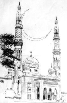 Dubai Mosque  Illustration by Irfan Khan   mirkha12@yahoo.com