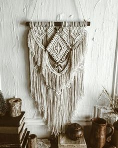 21 ideas for diy garden wall art fun Boho Curtains, Macrame Curtain, Macrame Plant Hangers, Modern Macrame, Bedroom Crafts, Garden Wall Art, Boho Home, Diy Letters, Macrame Projects
