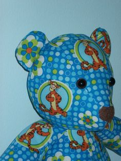 Teddy Bear Tigger Blue Circles Flowers Yellow Tail by DoOver, $20.00 DoOver.Etsy.Com