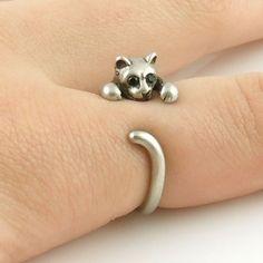 Animal Wrap Ring - Kitten / Cat - White Bronze - Adjustable Ring - keja jewelry