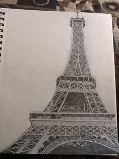 Efile Tower by Megan Hickcox Eiffel Tower Drawing, Eiffel Tower Painting, Abstract Pencil Drawings, Dark Art Drawings, Efile Tower, Paris Drawing, Mandala Art Lesson, Perspective Art, Building Art