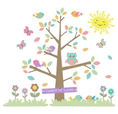 Árbol infantil con pájaros