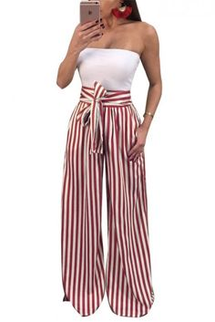 Make a big impression with these red and white striped palazzo pants. Pair with a bodysuit for an incredibly sexy look. | 6 Style Tips On How To Wear Palazzo Pants