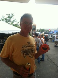Now he has an awesome motorcycle kickstand coaster for those days when he goes fishing.  Photo taken at the Harley-Davidson 110th Anniversary Party in Milwaukee, Wisconsin.  Get free items.   #milwaukee #harley #motorcycle #hd110