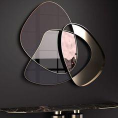 Exclusive Contemporary Italian Abstract Wall Mirror at Juliettes Interiors. Küchen Design, Glass Design, Wall Design, Wall Mirror Design, Wall Mirror Ideas, Round Wall Mirror, Diy Mirror, Interior Design, Modern Mirror Design