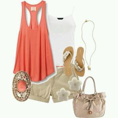 Orange top, white cami, khaki shorts, slippers, beige hand bag and accessories