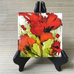 RedPoppies Ceramic Tile Alcohol Inks by DashofColorLA on Etsy