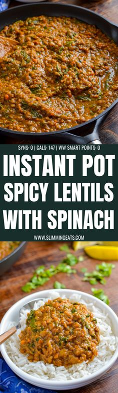 Delicious Syn Free Spicy Lentils and Spinach - a perfect meal for those meatless mondays. Even the non vegetarians, will love this recipe. Slimming World Vegetarian Recipes, Slimming World Dinners, Slimming Eats, Healthy Eating Recipes, Cooking Recipes, Slimming Recipes, Skillet Recipes, Vegetarian Dinners, Batch Cooking