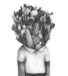 Juxtapoz Magazine - Drawings by Stefan Zsaitsits Art And Illustration, Illustration Cactus, Illustrations Posters, Drawing For Kids, Line Drawing, Pencil Drawings, Art Drawings, Cactus Drawing, Inspiration Art