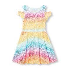 Girls Short Sleeve Printed Cold-Shoulder Dress