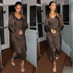 Rihanna Awaveawake brown slip dress jacket Spring 2016
