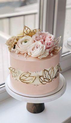 Elegant Birthday Cakes, Cute Birthday Cakes, Beautiful Birthday Cakes, Elegant Cakes, Birthday Cakes For Ladies, Elegant Cake Design, 90 Birthday, Birthday Cake With Flowers, Cake Decorating Designs