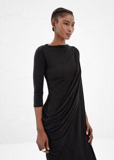 Rick Owens LILIES Side Drape Long Dress (Black)
