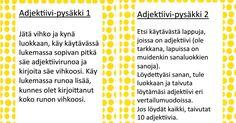 adjektiivipysäkit.pdf. Grammar, Literacy, Periodic Table, Literature, Language, Classroom, Teaching, Activities, Writing