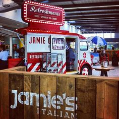 Food truck Jamie Oliver. Having a little  fence  and some seating perhaps, turns a food truck concept  into a creative dining spot! PopUpRepublic.com