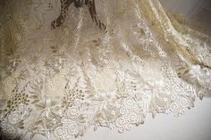 Golden lace fabric Gold guipure lace fabric champagne lace