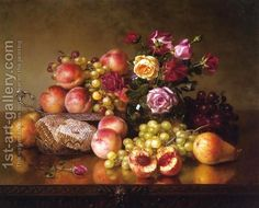 Fruit Still Life with roses and Honeycomb Robert Dunning | Oil Painting Reproduction | 1st-Art-Gallery.com