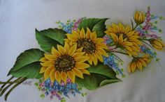 Sunflower Drawing, One Stroke Painting, Flower Tattoo Designs, Acrylic Painting Canvas, Animal Drawings, Ladybug, Tulips, Stencils, Diy Crafts