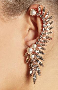 Crystal + Pearl Ear Cuff