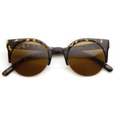Super Trendy Retro Round Circle Cat Eye Sunglasses 8760