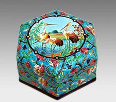 Longwy Importante Boite Art Déco Aux Hérons, Galerie Tramway, Proantic