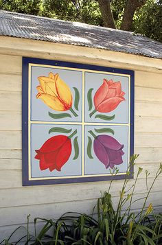 Gene & Diane Anderson | Black Hawk County Barn Quilts | 4 Tulips | Cedar Falls, Iowa