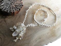 Natural Quartz crystal jewelry with white Jade by SpiritCarrier