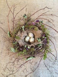 Bird Nest Project - DIY using vine, burlap, moss, and plastic bird eggs - by Gatherings at Muncy Creek Barn Works