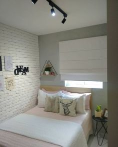Ikea Small Bedroom, Small Guest Rooms, Single Bedroom, Small House Interior Design, Home Room Design, Dream Home Design, Dream Bedroom, Room Decor Bedroom, Brick Wall Decor