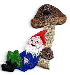 mushroom sew patch | Gnome Relaxing On Mushroom Embroidered Iron On Applique Patch | eBay