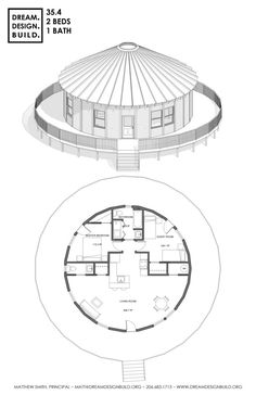 Round House Plans, Small House Plans, House Layout Plans, House Layouts, Home Design Floor Plans, House Floor Plans, Small House Design, Cool House Designs, Yurt Home
