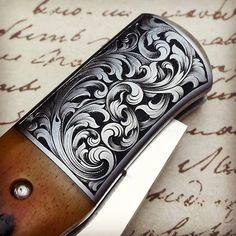 Engraved Knife, Scroll Pattern, Metal Engraving, Gravure, Metal Art, Filigree, Lotus Elan, Guns, Lettering