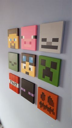 "Minecraft wall art. Set of 9 canvases. Small 8"" x 8"". by Katzkanvas on Etsy https://www.etsy.com/au/listing/250077559/minecraft-wall-art-set-of-9-canvases"