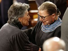 PHOTO: Sen. Barbara Boxer, D-Calif., greets Supreme Court Justice Ruth Bader Ginsburg on Capitol Hill in Washington, Jan. 20, 2015, before President Obamas State of the Union address.