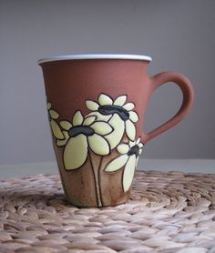Tall tea mug with sunflowers click the image or link for more info. Pottery Mugs, Ceramic Pottery, Pottery Art, Ceramic Cups, Ceramic Art, Stars Disney, Make Your Own Pottery, Clay Mugs, Sgraffito