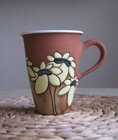 Tall tea mug with sunflowers
