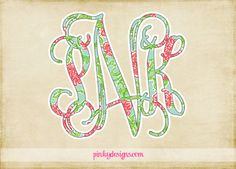 Lilly Pulitzer Vine Monogram Decal  Axo by PinkyDesign on Etsy, $1.95