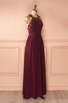 Ryna Burgundy - Lace and mesh crystal embellished maxi dress