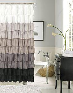 Gray Flamenco Ruffle Shower Curtain