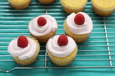 Lower Sugar Vanilla Cupcakes with Natural Pink Frosting via yummytodderfood.com