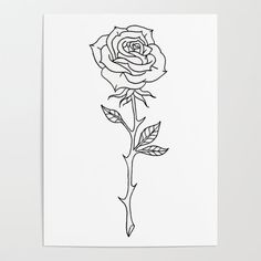 Rose Stem Illustrations Poster by La Petite Mesange - X Small Rose Wrist Tattoo, Rose Stem Tattoo, Rose And Dagger Tattoo, Rose Tattoos For Men, Black Rose Tattoos, Flower Tattoo Drawings, Sketch Tattoo Design, Flower Sketches, Tattoo Outline
