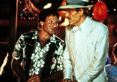 Robin Williams And Peter O'Toole in a scene from Club Paradise (1986).