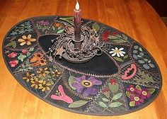 Flower Garden Crazy...great wool candle MAT in crazy Quilt style!