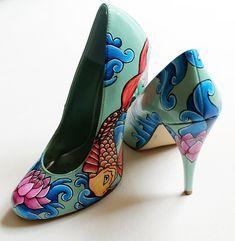 Hand painted Heels concealed platform court shoes by kezbirdie