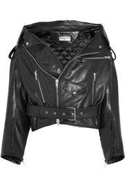 Balenciaga - Swing Leather Biker Jacket - Black e Riders Jacket, Vest Jacket, Motorcycle Jacket, Embroidered Leather Jacket, Quilted Jacket, Quilted Leather, Off Shoulder Jacket, Balenciaga Jacket, Oversized Jacket