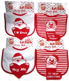 One Pair Fun Red Velour Baby Bootee Slippers With Santa Face Design In An Organza Gift Bag Size 0-6 Months