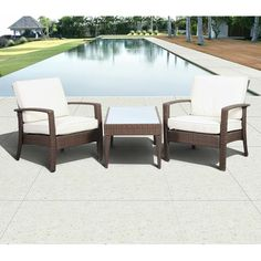 Florida Deluxe 3-Piece Wicker Patio Conversation Set with Off-White Cushions