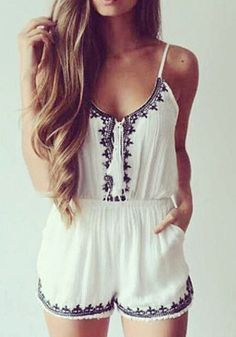 Nothing's too late to get styled up if you have this beige embroidered cami romper on hand. It's a refreshing piece with a scoop neckline and thin spaghetti straps perfect for summer. | Lookbook Store