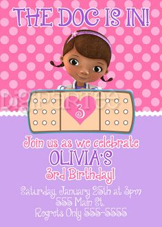 doc mcstuffins party invitations - looks like i'll be hitting up Etsy again for party invites :)